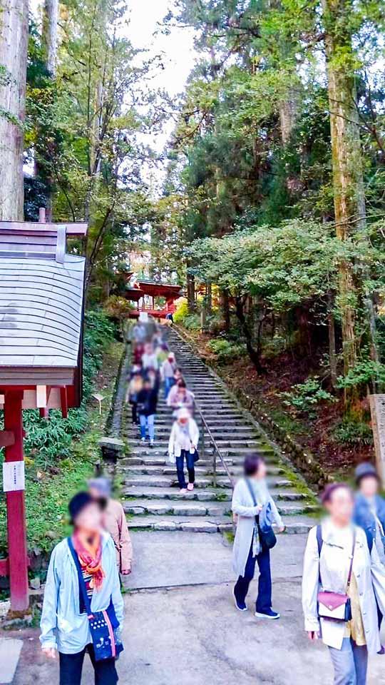 長い階段を下りて釈迦堂に到着。